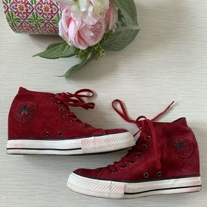 Converse Chuck Taylor Red Suede Wedge Sneakers